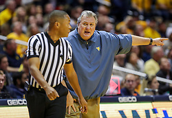Jan 19, 2019; Morgantown, WV, USA; West Virginia Mountaineers head coach Bob Huggins argues a call during the first half against the Kansas Jayhawks at WVU Coliseum. Mandatory Credit: Ben Queen-USA TODAY Sports