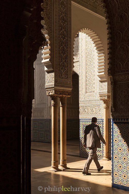 Man walking in Mahkama du Pacha in Casablanca, Morocco