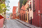 Spanish colonial homes along Cuadrante Street in the historic center of San Miguel de Allende, Mexico.