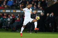 Wayne Routledge of Swansea city in action. Premier league match, Swansea city v West Bromwich Albion at the Liberty Stadium in Swansea, South Wales on Saturday 9th December 2017.<br /> pic by  Andrew Orchard, Andrew Orchard sports photography.