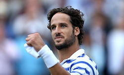 Spain's Feliciano Lopez celebrates beating Bulgaria's Grigor Dimitrov during day six of the 2017 AEGON Championships at The Queen's Club, London.