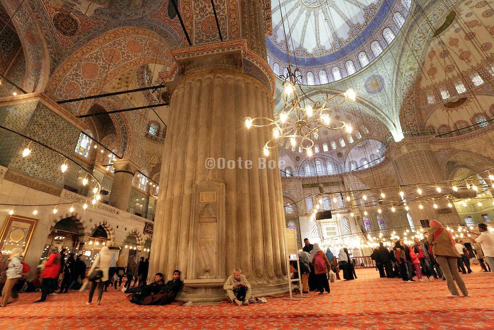 interior Sultanahmet Camii Mosque Istanbul Turkey