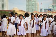 A group of elementary school students enjoy a school field trip to Galle Face Green in Colombo, Sri Lanka.