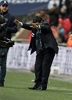 Football - 2017 / 2018 Premier League - Tottenham Hotspur vs. Liverpool<br /> <br /> Diego Maradona bows before the Tottenham fans at half time as he is introduced at Wembley Stadium.<br /> <br /> COLORSPORT/DANIEL BEARHAM