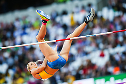 London, August 10 2017 . Sofie Skoog, Sweden, in the Women's high jump qualifying on day seven of the IAAF London 2017 world Championships at the London Stadium. © Paul Davey.