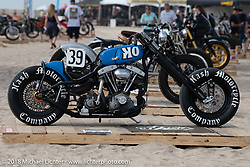 Custom Harley-Davidson Shovelhead by Taber Nash of the Nash Motorcycle Co at the RSD Moto Beach Classic custom bike show. Huntington Beach, CA, USA. Sunday October 28, 2018. Photography ©2018 Michael Lichter.