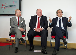NEWPORT, WALES - Saturday, April 20, 2013: UEFA President Michel Platini with FAW President Trevor Lloyd-Hughes and Chief-Executive Jonathan Ford at the opening of the FAW National Development Centre in Newport. (Pic by David Rawcliffe/Propaganda)