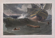 A MAN OVERBOARD colour print from the book ' A Picturesque Voyage to India by Way of China  ' by Thomas Daniell, R.A. and William Daniell, A.R.A. London : Printed for Longman, Hurst, Rees, and Orme, and William Daniell by Thomas Davison, 1810. The Daniells' original watercolors for the scenes depicted herein are now at the Yale Center for British Art, Department of Rare Books and Manuscripts,