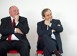 NEWPORT, WALES - Saturday, April 20, 2013: UEFA President Michel Platini with FAW President Trefor Lloyd-Hughes at the opening of the FAW National Development Centre in Newport. (Pic by David Rawcliffe/Propaganda)