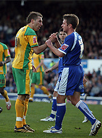Photo: Rich Eaton.<br /> <br /> Cardiff City v Norwich City. Coca Cola Championship. 10/03/2007. Darren Huckerby left of Norwich and Stephen McPhail of Cardiff argue late in the second half