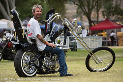 JP Rodman's custom Shovelhead on Sunday day-2 at Born Free-7 at Oak Canyon Ranch. Silverado, CA. USA. June 28, 2015.  Photography ©2015 Michael Lichter.