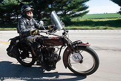 Rich Rau riding his 1916 Indian Powerplus in the Motorcycle Cannonball coast to coast vintage run. Stage 5 (229 miles) from Bowling Green, OH to Bourbonnais, IL. Wednesday September 12, 2018. Photography ©2018 Michael Lichter.