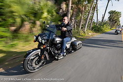 Brian Klock riding his Jack Daniels Limited Edition (no 177 of 177) Indian Chieftan he designed for Indian that includes the first production 116 ci engine and lots of other accessories on a ride through Tomoka State Park during Daytona Beach Bike Week, FL. USA. Friday, March 15, 2019. Photography ©2019 Michael Lichter.