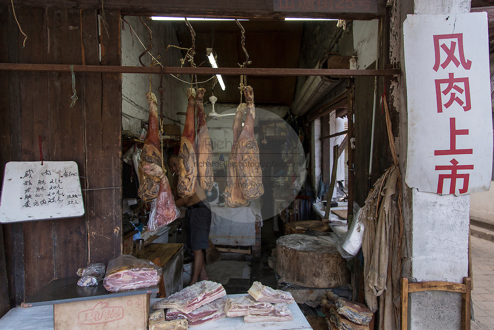 Old traditional butchers shop on Shantang Street  in Suzhou, China.