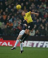 PAUL DEVLIN BEATS LEE NAYLOR-Coca-Cola-Footbal League Championship-Watford v Wolves-11-12-04.pic by Colorsport/ Kieran Galvin