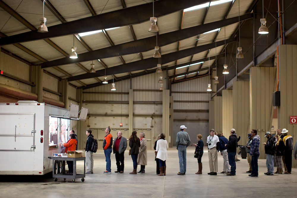 CLEMSON, S.C. - FEBRUARY 10: Attendees wait in line at a concession stand before a rally for Republican presidential candidate Donald Trump at the T. Ed Garrison Arena on Wednesday, Feb. 10, 2016. (Photo by Kevin D. Liles/For the Washington Post)