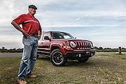 USA, Oregon, Willamette Mission State Park, Jeep Patriot and owner. PR, MR