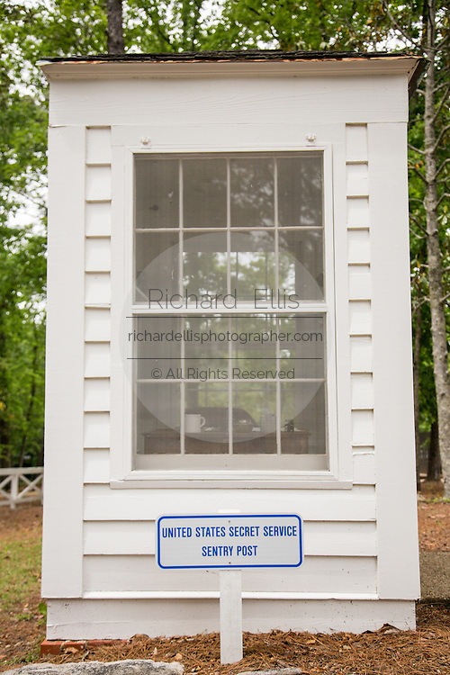 The Secret Service sentry post on the grounds of U.S. President Franklin Roosevelt's vacation home at the Little White House in Warm Springs, Georgia. FDR often vacationed at the home and died there while in office in 1945