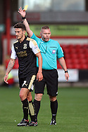 Bradley Barry of Swindon Town receives a yellow card from referee Richard Clark. Skybet football league 1 match, Crewe Alexandra v Swindon Town at The Alexandra Stadium in Crewe, Cheshire on Saturday 5th September 2015.<br /> pic by Chris Stading, Andrew Orchard sports photography.