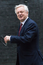 Downing Street, London, February 9th 2017. Secretary of State for Exiting the European Union David Davis is photographed in Downing Street the morning after his spat with Labour's Diane Abbott in the Strangers Bar at the House of commons.