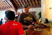 Art Howe orders a margarita at Esperanza's after the first day of the 2014 Tour de Fort Worth, an annual event hosted by Mayor Betsy Price to promote cycling within the city while also having a chance to connect with her constituents on July 5, 2014 in Fort Worth, Texas. (Cooper Neill for The New York Times)