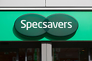 Close up Specsavers opticians shop Ipswich, Suffolk, England, UK