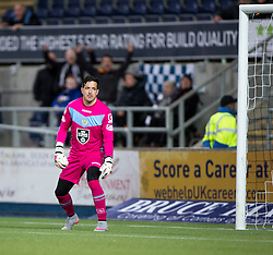 St Mirren's keeper Jamie Langfield after Falkirk's Will Vaulks scored the 3rd goal. <br /> Falkirk 3 v 0 St Mirren. Scottish Championship game played 21/10/2015 at The Falkirk Stadium.