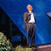 The Australian media mogul, Rupert Murdoch, outside his London offices.