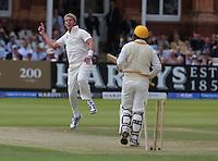 MCC'S Brett Lee (Australia) celebrates the wicket of Rest of the World Virender Sehwag (India)<br /> <br /> Photographer Kieran Galvin/CameraSport<br /> <br /> International Cricket - Bicentenary Celebration - MCC v Rest of the World - Saturday 5th July 2014 - Lords - London<br /> <br /> © CameraSport - 43 Linden Ave. Countesthorpe. Leicester. England. LE8 5PG - Tel: +44 (0) 116 277 4147 - admin@camerasport.com - www.camerasport.com