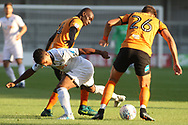 Simeon Akinola (L) & Dan Sweeney of Barnet ®combine to stop Wayne Routledge of Swansea city ©. Pre-season friendly match, Barnet v Swansea city at the Hive in London on Wednesday 12th July 2017.<br /> pic by Steffan Bowen, Andrew Orchard sports photography.