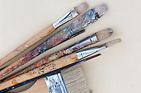 Picture of colorful paintbrushes with pastel color over connstruction paper.
