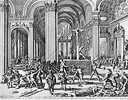 After presenting the petition by the Federation of the Nobles, there was a 'Moderation' in the application of Spanish rule. It was seen as inadequate and led to public demonstrations of anti-Catholic iconoclastic anger which erupted in 1556 in different regions of the Netherlands. etching by Jan Luyken