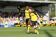 Burton Albion striker Joe Mason (20) scores a goal within a minute of making his Burton Albion debut from Wolves on loan, score  1-1 and celebrates during the EFL Sky Bet Championship match between Burton Albion and Sheffield Wednesday at the Pirelli Stadium, Burton upon Trent, England on 26 August 2017. Photo by Richard Holmes.