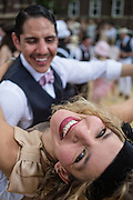 A man dips his partner at the Jazz Age Lawn Party.
