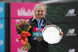 Charlotte Purdue, winner of the women's race during the Vitality Big Half in London.