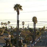Long view to the East down Madison Ave, in San Diego just after sunrise..