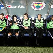 Besiktas's players during their Turkish superleague soccer derby match Fenerbahce between Besiktas at Sukru Saracaoglu stadium in Istanbul Turkey on Sunday 05 February 2012. Photo by TURKPIX
