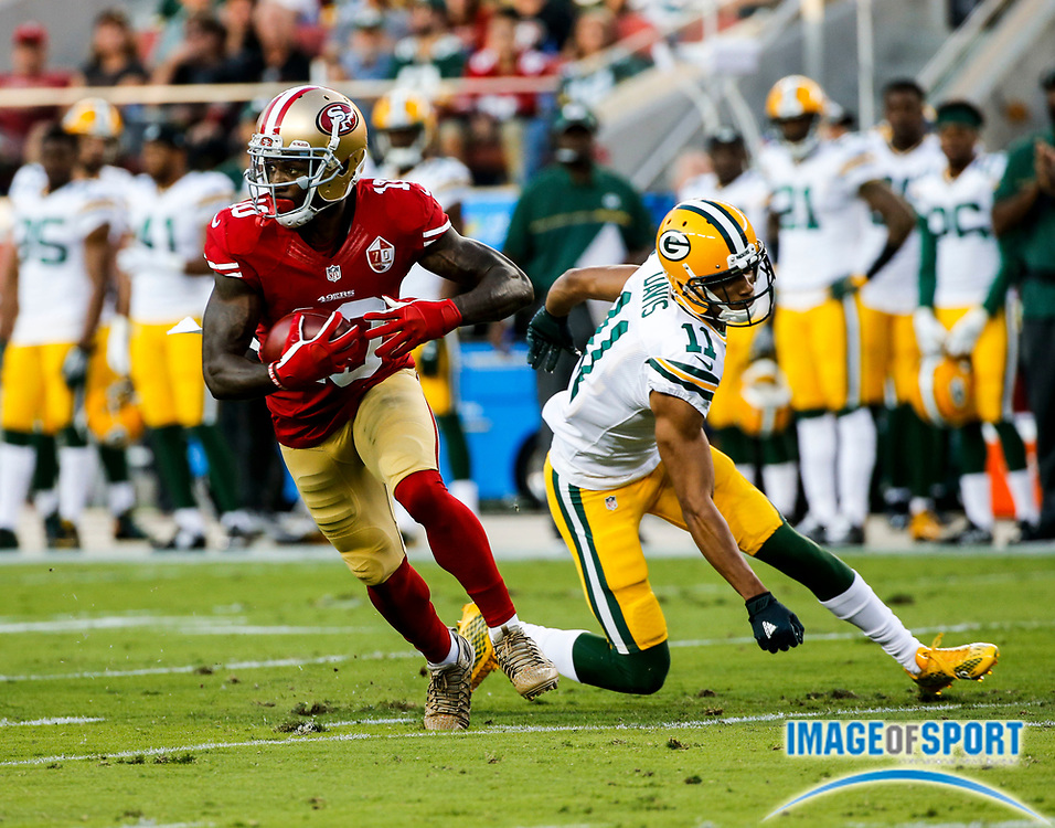 Aug 26, 2016, Santa Clara, CA, USA; San Francisco 49ers wide receiver Bruce Ellington (10) returns a punt 10 yards in the first quarter against the Green Bay Packers in a preseason NFL game at Levi's Stadium. Green Bay beat San Francisco 21-10.