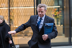 © Licensed to London News Pictures. 16/01/2019. London, UK.  Pilot, Andrew Hill arrives at The Old Bailey for trial, where he faces 11 counts of manslaughter by gross negligence after his Hawker Hunter jet crashed on the A27 at Shoreham in West Sussex on 22nd August 2015.  Photo credit: Vickie Flores/LNP
