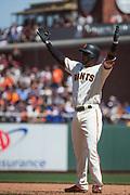 San Francisco Giants shortstop Eduardo Nunez (10) celebrates a hit against the Los Angeles Dodgers at AT&T Park in San Francisco, California, on April 27, 2017. (Stan Olszewski/Special to S.F. Examiner)
