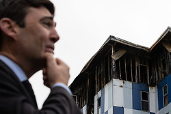 """© Licensed to London News Pictures. 16/11/2019. Bolton, UK. ANDY BURNHAM , mayor of Manchester , at the site of the blaze . Firefighters work at the scene where a fire broke out overnight (15th/16th November 2019) at a block of flats known as """" The Cube """" , in Bolton Town Centre . At least two people are known to have been treated by paramedics at the scene of the six-story block , which is occupied by students of the University of Bolton . Photo credit: Joel Goodman/LNP"""