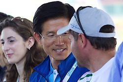 World Match Racing Tour 2010. Korea Match Cup, Gyeonggi, Korea. 8th June 2010, Mr Kim Moon Soo, Governor, Gyeonggi Province (left) chating with Paulo Cian.