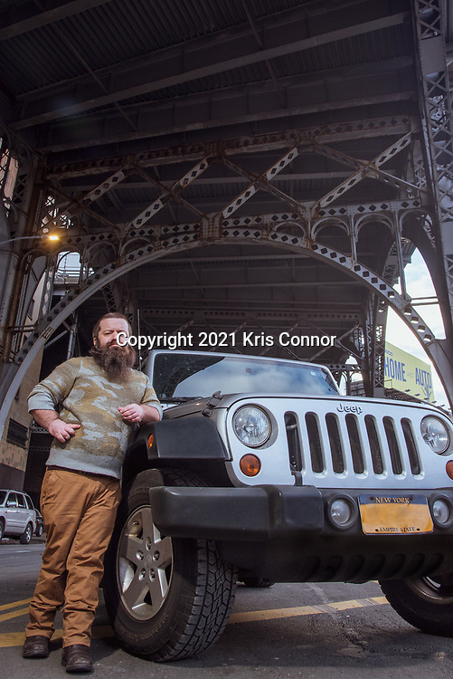 Public Speaker Kris Connor is photographed in front of his 2010 Chrysler Keep Wrangler Unlimited in the Harlem neighborhood of New York City on January 17, 2021. (Photo by Kris Connor)