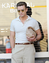 Justin Timberlake films a scene for Woody Allen's new film on location in Queens in New York, USA.