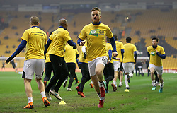 Derby County's Alex Pearce (centre) warms up prior to kick off