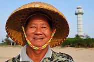 """""""Mr Coral Protector"""", Ting Ji Zhan. Beside the light house at the southern point, Land's End spit, the southermost point on the Chinese mainland, Deng Lou Jiao, near Xu Wen, Guangdong province, China"""