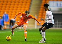 Blackpool's Nathan Shaw takes on Derby County's Archie Brown<br /> <br /> Photographer Alex Dodd/CameraSport<br /> <br /> The FA Youth Cup Third Round - Blackpool U18 v Derby County U18 - Tuesday 4th December 2018 - Bloomfield Road - Blackpool<br />  <br /> World Copyright © 2018 CameraSport. All rights reserved. 43 Linden Ave. Countesthorpe. Leicester. England. LE8 5PG - Tel: +44 (0) 116 277 4147 - admin@camerasport.com - www.camerasport.com