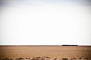 A train is seen in the middle of desert, Kazakhstan.