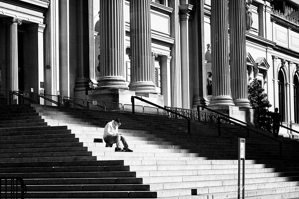 On the steps of the Metropolitan Museum of Art.