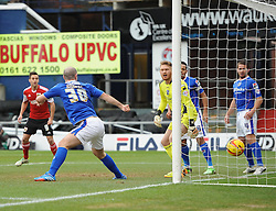Oldham Athletic's Gary Harkins is helpless to stop Bristol City's Aden Flint  score - Photo mandatory by-line: Joe Meredith/JMP - Tel: Mobile: 07966 386802 08/02/2014 - SPORT - FOOTBALL - Oldham - Boundary Park - Oldham Athletic v Bristol City - Sky Bet League One